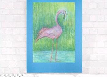 flaming obrazek,rysunek z flamingiem,pastelowy rysunek flami