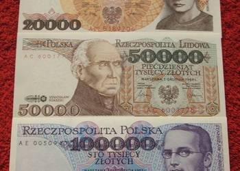 POLSKA PRL ZESTAW (3) Kolekcjonerskie Banknoty - 3 szt. UNC