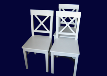Białe, drewniane krzesło krzyżowe, Prowansja, NAJTANIEJ