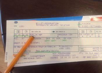 Bilet PKP: Berlin-Warszawa na 9 września, g. 16.43, 2 osoby