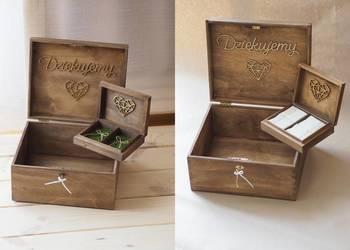 Zestaw rustykalny skrzynka na koperty + pudełko na obrączki