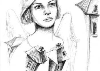 """Rysunek ołówkiem """"Anioł domu"""" artystki Adriany Laube"""