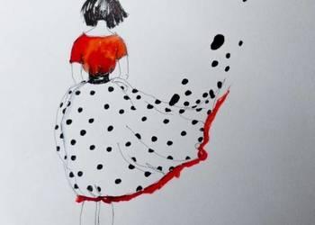 Praca akwarelą i piórkiem ''Bezsilność'' artystki A. Laube
