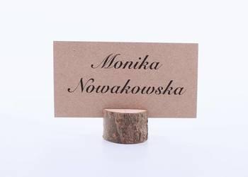 Winietki z drewnianą podstawką z korą, papier biały WD13