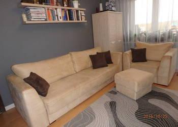 Komplet wypoczynkowy - rozkładana kanapa + fotel + pufa