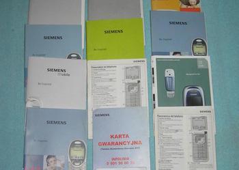 Pozostałości po telefonach Siemens - instrukcje, płyta, karta gwarancyjna