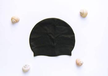 Nowy czarny silkonowy czepek