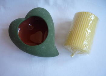 Almi Decor Nowy świecznik zielone serce ceramika + świeczka