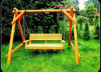 Meble ogrodowe barowe krzesła  drewniane huśtawka