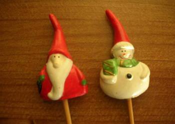 2 ozdoby świąteczne na piku  mikołaj i bałwan