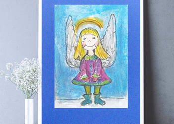 ładny aniołkek do pokoju,obrazek z aniołkiem,rysunek aniołek