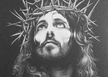 Jezus Chrystus Obraz ręcznie grawerowany w blasze ...
