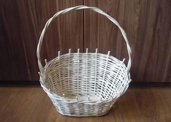 Nowy Koszyk biały wiklinowy prezentowy na prezent