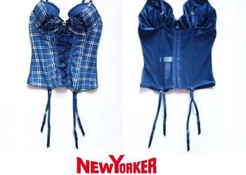 Niebieski gorset krata New Yorker 75 B xs 34 s 36 bielizna