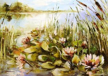 Nenufary - Obraz olejny, kwiaty, szpachla, 50X30