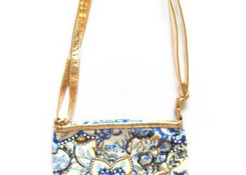 elegancka torebka złoto granatowa, boho torebeczka,
