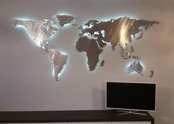 Mapa świata Podświetlana LED Stalowa Ręcznie Zrobio naklejka