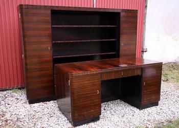 Gabinet art deco heban makassar biurko i biblioteka z 1930 r