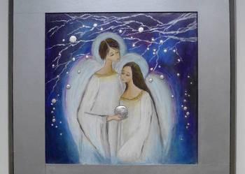 Obraz w srebrnej ramie-dwa anioły ze zrebrną kulą-fioletowy