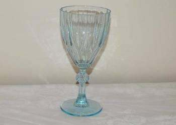 Duży kielich z błękitnego szkła w stylu Art Deco