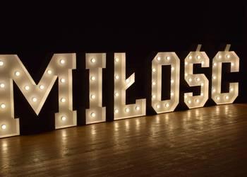 Napis podświetlany MIŁOŚĆ, LED, wesele, ślub, litery, LOVE