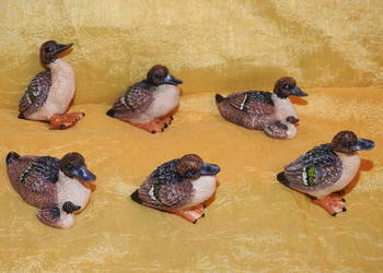 Kolekcjonerskie miniaturki śliczne kaczuszki 6 sztuk.