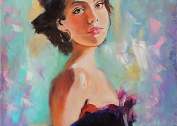 Obraz olejny nowoczesny portret kobiety T Mrowiński