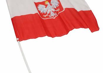 Polska flaga z godłem BIAŁO-CZERWONA ORZEŁ 30 x 40 cm