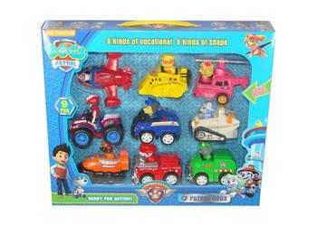 PSI PATROL figurki auta z napędem 9 sztuk