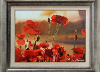 Obraz olejny pejzaż kwiaty maki z ramą T. Mrowiński