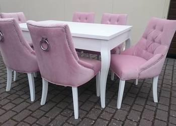 Krzesło pikowane tapicerowane z kołatką glamour chesterfield