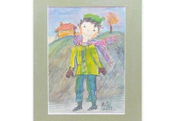 ładny obrazek do pokoju chłopca,ładny rysunek z chłopczykiem