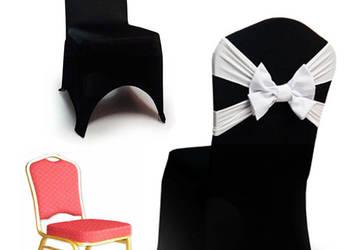 Czarne Pokrowce na krzesła - Spandex z kokardą