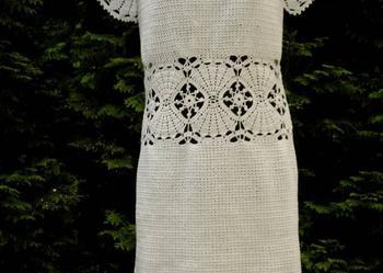 Sukienka na szydełku na zamówienie, białą lub inna