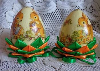 Jajko wielkanocne pisanka decoupage+karczoch małe REKODZIELO