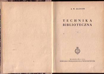 (7779) TECHNIKA  BIBLIOTECZNA – A.W. KLENOW