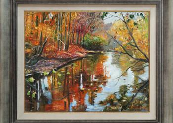 Obraz olejny pejzaż jesień z ramą T. Mrowiński