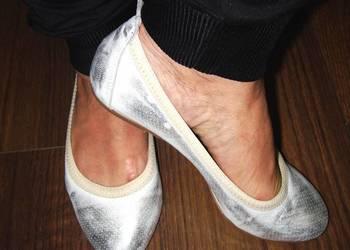Nikole baletki srebrno białe przecierane  roz 36 jak nowe.