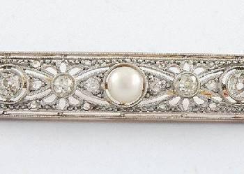 Broszka złota z diamentami podłużna, w kształcie prostokąta