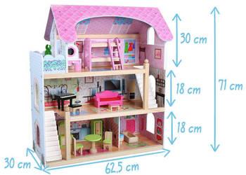 Duży drewniany domek dla lalek + wyposażenie + 4 lalki