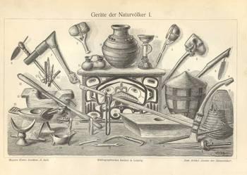 ARCHEOLOGIA - PREHISTORIA    oryginalne XIX w. grafiki
