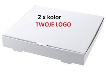 Kartony pudełka na pizzę 34 cm 100 sztuk z NADRUKIEM 2xkolor