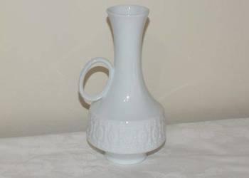 Biały ręcznie robiony ceramiczny wazon niemiecki-sygnowany
