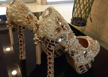 Buty szpilki i torebka ślub wesele buty z kryształkami lux