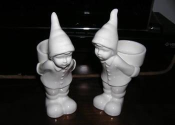 figurki ceramiczne krasnale świeczniki