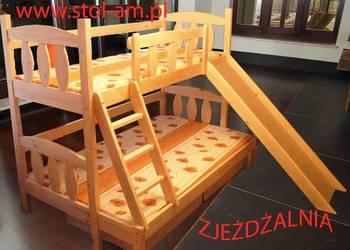 łóżka, łóżko piętrowe 3 osobowe ze zjeżdżalnią