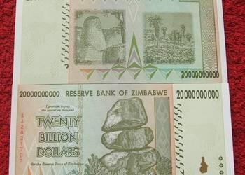 ZIMBABWE 20 BILIONÓW DOLARÓW Kolekcjonerski Banknot UNC