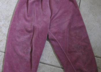 Fioletowe (liliowe) spodnie z materiału podobnego do aksamitu - rozmiar 98 - stan bardzo dobry.