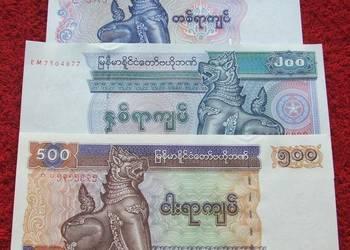 MYANMAR (3) Kolekcjonerskie Banknoty Zestaw - 3 sztuki UNC
