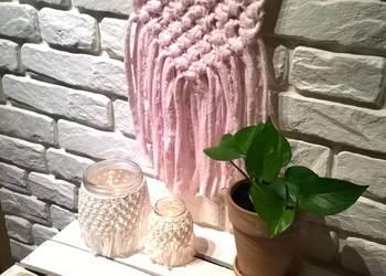 Makatka makrama - Serce Pudrowe / dekoracja / zawieszka